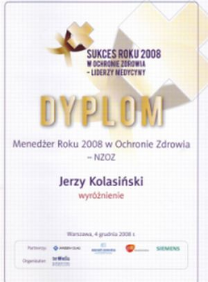 Dr Jerzy Kolasiński awarded Manager of the Year